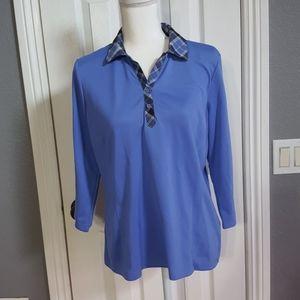 Izod Golf Shirt Size L Purple color 3/4 sleeves